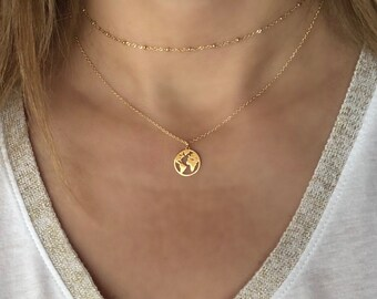 World map necklace etsy dainty world map necklace gold globe necklace silver earth necklace minimalist layering gumiabroncs Gallery