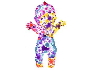 Kewpie doll, giclée print, ink/watercolour wall art