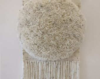 Woven Wall Hanging - speckled cream shag weave, weaving wall art