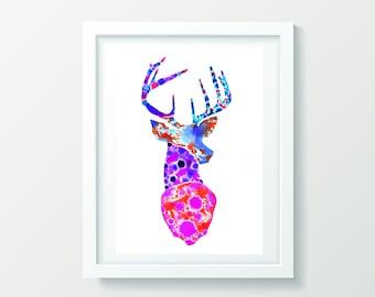 Danny Deer Giclée print, watercolour wall art, wall art print, wall decor, framed print, original artwork.