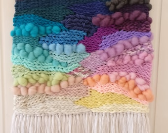 Large weave, Woven wall hanging, Rainbow Weaving, wall art, wall tapestry