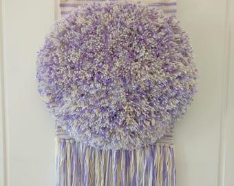 Woven wall hanging, purple & Cream speckled shag weaving, wall art