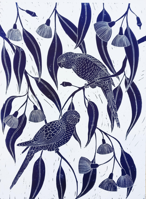 Chickadee Hand Printed Block Print Hand Carved Original Art