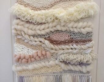 Large Weave, Woven Wall Hanging - Cream & Blush Weaving, wall art