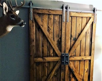 May Sale! Double Sliding Barn Door Hardware Kit with Track for 2 Doors, Ships In One Day! Doors Not Included Raw Steel Finish