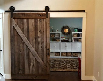 Bypass Sliding Barn Door Hardware Kit With Track System For 2 Etsy