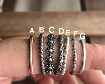 Stacker rings, minimalist rings, midi ring, minimalist jewelry, rose gold, silver stacker, rose gold stacker