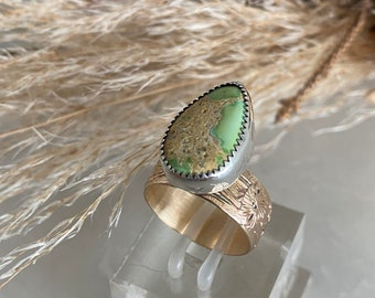 Golden creek, turquoise ring, turquoise gold ring, ladies turquoise ring, natural turquoise ring