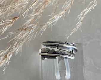 Strength, Mantra, mantra ring, leaf wrap ring, leaf ring, statement ring, silver ring, silver leaf ring