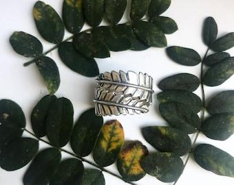 Fern, fern leaf ring, adjustable ring, leaf wrap ring, leaf ring, wrap ring