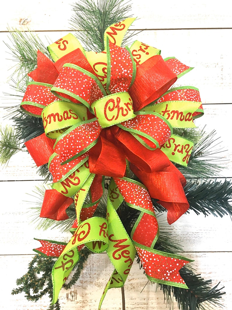 Red and Green Bow Tree Topper Christmas Wreath Bow Lantern Bow Mailbox Bow