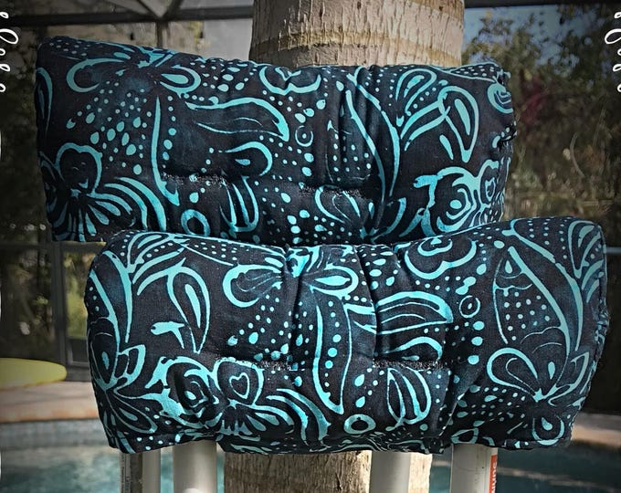 Blues and Navy Batik Crutch Covers