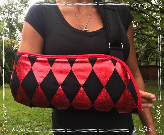 Harlequin Arm Sling - Harley Quinn- Black and Red Diamonds- Alice in Wonderland- child arm sling - adult arm sling