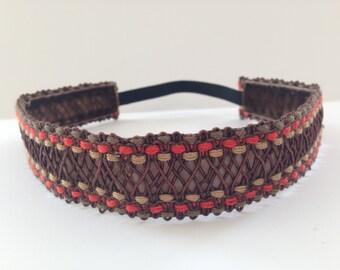 Brown and Orange Braided No Slip Headband - 1 inch wide