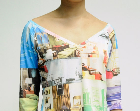 Todd Oldham wide V-Neck Interiors print 3/4 sleeve top