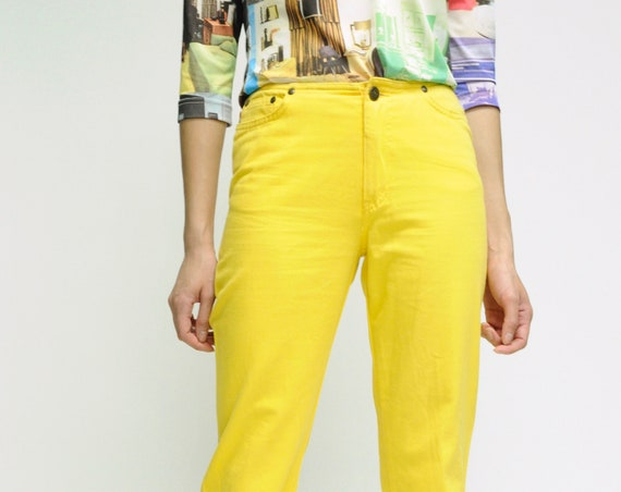 1990s MOSCHINO Bright Yellow Jeans