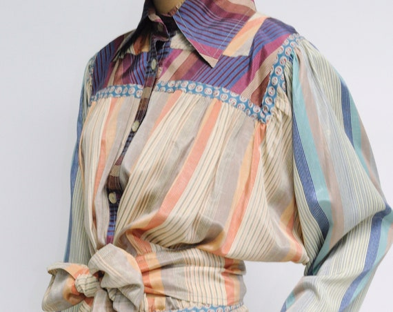 KOOS Van Den Akker 1970s Color Block Silk Skirt Set