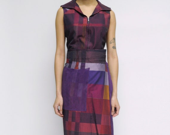 KENZO Maroon and Purple Wrap Skirt Set