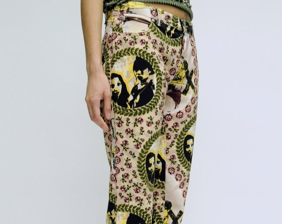 Gaultier Jeans Floral Portrait Print Pants