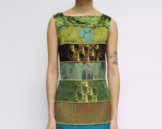 Jean Paul Gaultier 2002 Jacquard Silk Fabric Shift Dress