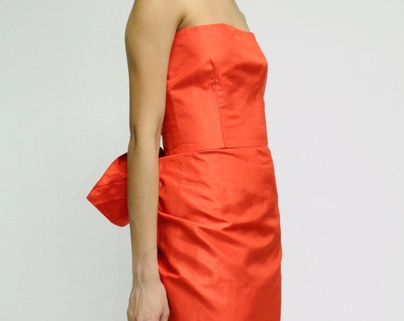 1970s Lanvin Paris Red Satin Cocktail dress