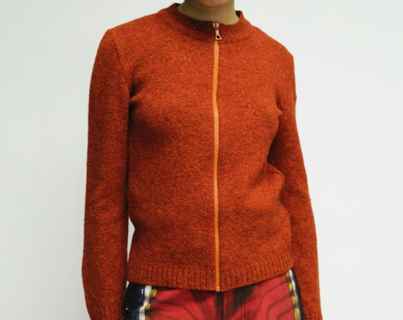1990s Miu Miu Burnt Orange knit zip TECH Cardigan sweater