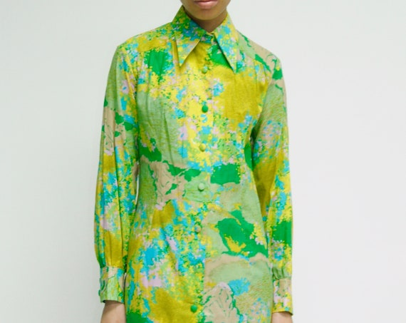 1970s LANVIN Wild Acid Floral Print Shirt Dress