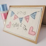 New Twins card/ personalised baby twins card / birth congratulations card / new baby boy card/ new baby girl card, Twins - double trouble