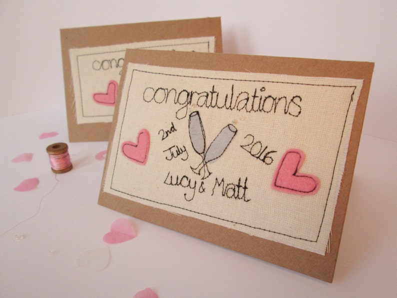 Congratulations engagement or wedding card  Personalised image 0