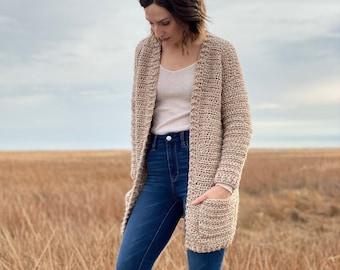 The Coffeeshop Cardigan PDF DIGITAL DOWNLOAD Crochet Pattern, cozy crochet cardi pattern, women's crochet sweater pattern, homespun sweater