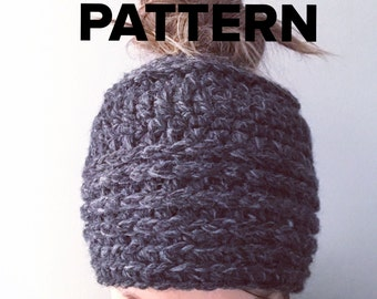 Top Knot Beanie PATTERN, Crochet pony tail beanie, Chunky crochet beanie for bun, Women's hat for messy bun, kids pony tail hat, bun beanie