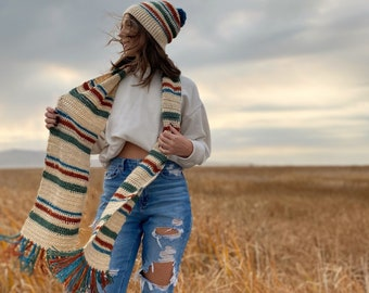 The North Winds Set PDF DIGITAL DOWNLOAD Crochet Pattern, Women's Striped Crochet Beanie And Scarf Pattern, Cute Matching Crochet Set