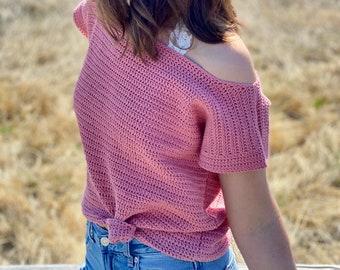 The Clarissa Tee PDF DIGITAL DOWNLOAD Crochet Pattern, Women's Cute Summer Crochet Top, Off The Shoulder Crochet Tee Pattern, Beginner Top