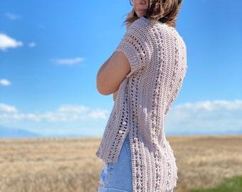 The Windfall Cardigan PDF DIGITAL DOWNLOAD Crochet Pattern, Cute Side To Side One-Piece Crochet Cardigan, Women's Summer Crochet Pattern