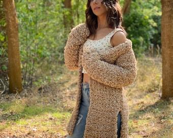 The Luna Cardigan PDF DIGITAL DOWNLOAD Crochet Pattern, Women's Cozy Crochet Cardigan Pattern, Long Crochet Coat, Sherpa Crochet Sweater