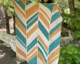 The Unwind Throw PDF DIGITAL DOWNLOAD Crochet Pattern, C2C Crochet Blanket Pattern, Striped Corner 2 Corner Pattern, Picnic Blanket Pattern