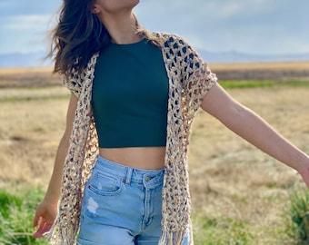 The Zahora Cardigan PDF DIGITAL DOWNLOAD Crochet Pattern, Women's Lace Summer Crochet Cardigan, Cute Mesh Picot Crochet Cardigan Pattern