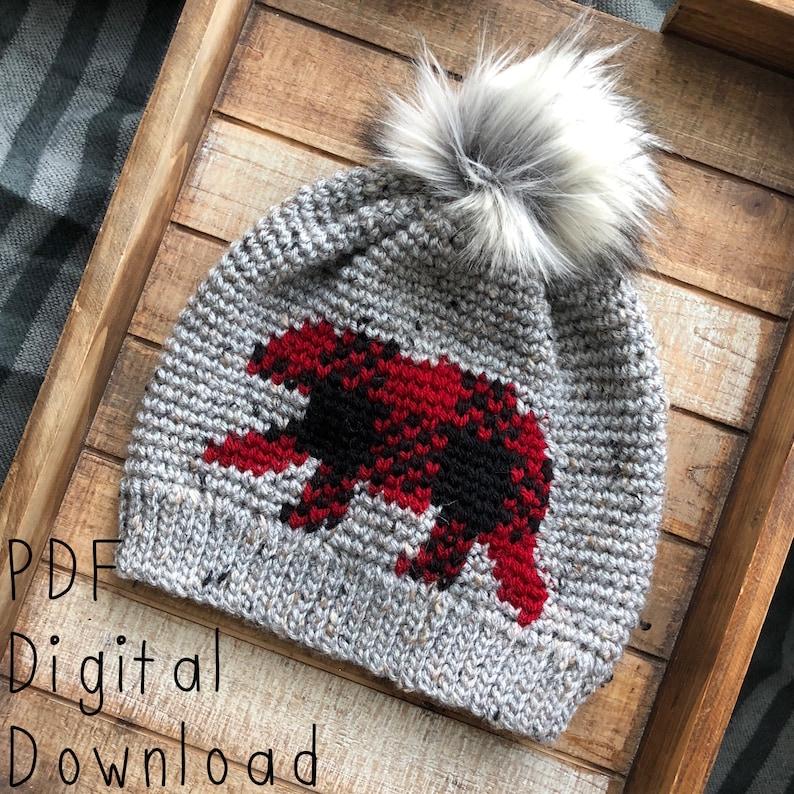 Oso Plaid Beanie PDF DIGITAL DOWNLOAD Crochet Pattern Plaid image 0