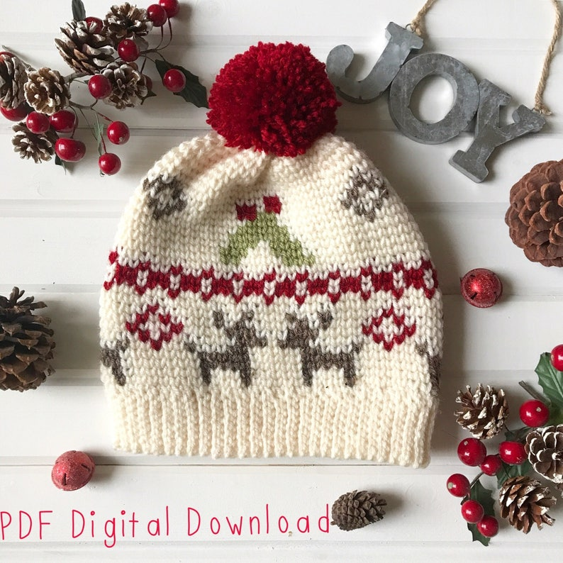 Mistletoe Kisses Beanie PDF DIGITAL DOWNLOAD Crochet pattern image 0