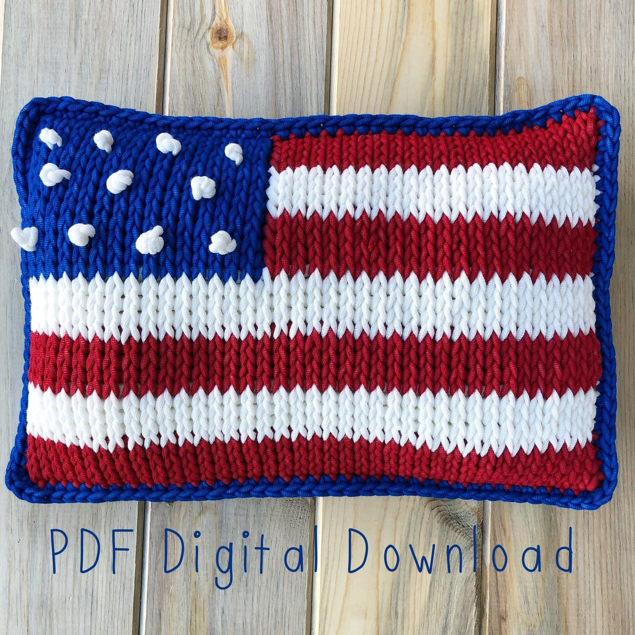 American Flag Pillow Pdf Digital Download Tunisian Crochet Etsy