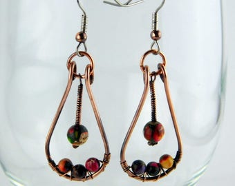 Mixed Impression Jasper Earrings, Copper Wire Earrings, Jasper Earrings, Stone Jewelry, Copper Jewelry, Unique Earrings, Handmade Earrings