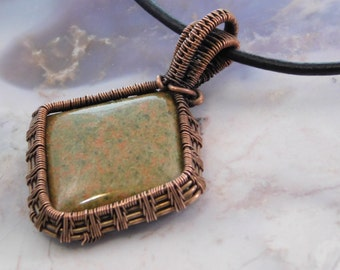Diamond shaped jasper pendant, copper woven pendant, jasper pendant, wire wrapped pendant, copper jewelry,