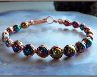 Rainbow Hematite Bracelet, Copper Bracelet, Egyptian Bracelet, Gift for her, Handmade Jewelry, Copper Jewelry, Wire braided bangle