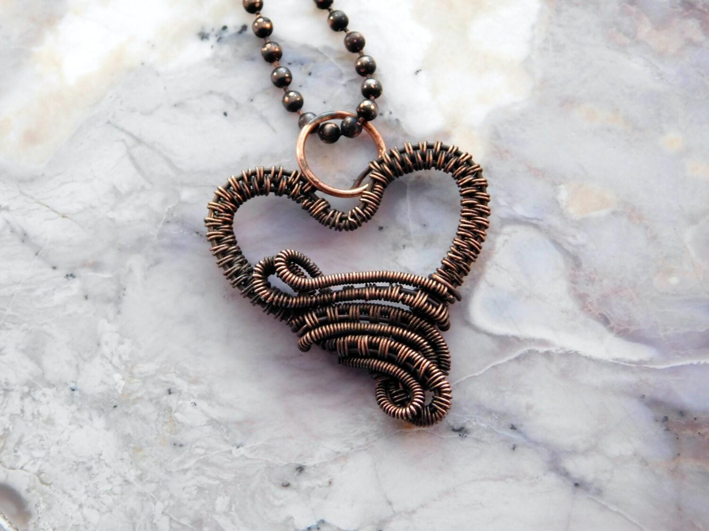Kupfer-Herz-Halskette Draht gewebte Herz-Anhänger Draht | Etsy