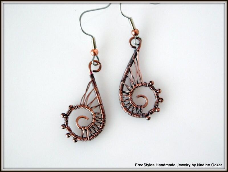 Draht umwickelt Kupfer Ohrringe Ohrringe Draht gewebt | Etsy