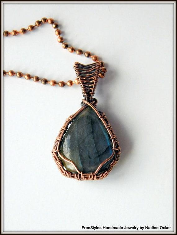 Labradorite Pendant Antiqued Copper Labradorite Pendant Wire Etsy
