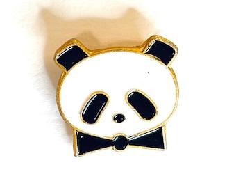 Panda Pin   Vintage Bear Lapel Badge   CWCA Chinese Wildlife Conservation Association Pin