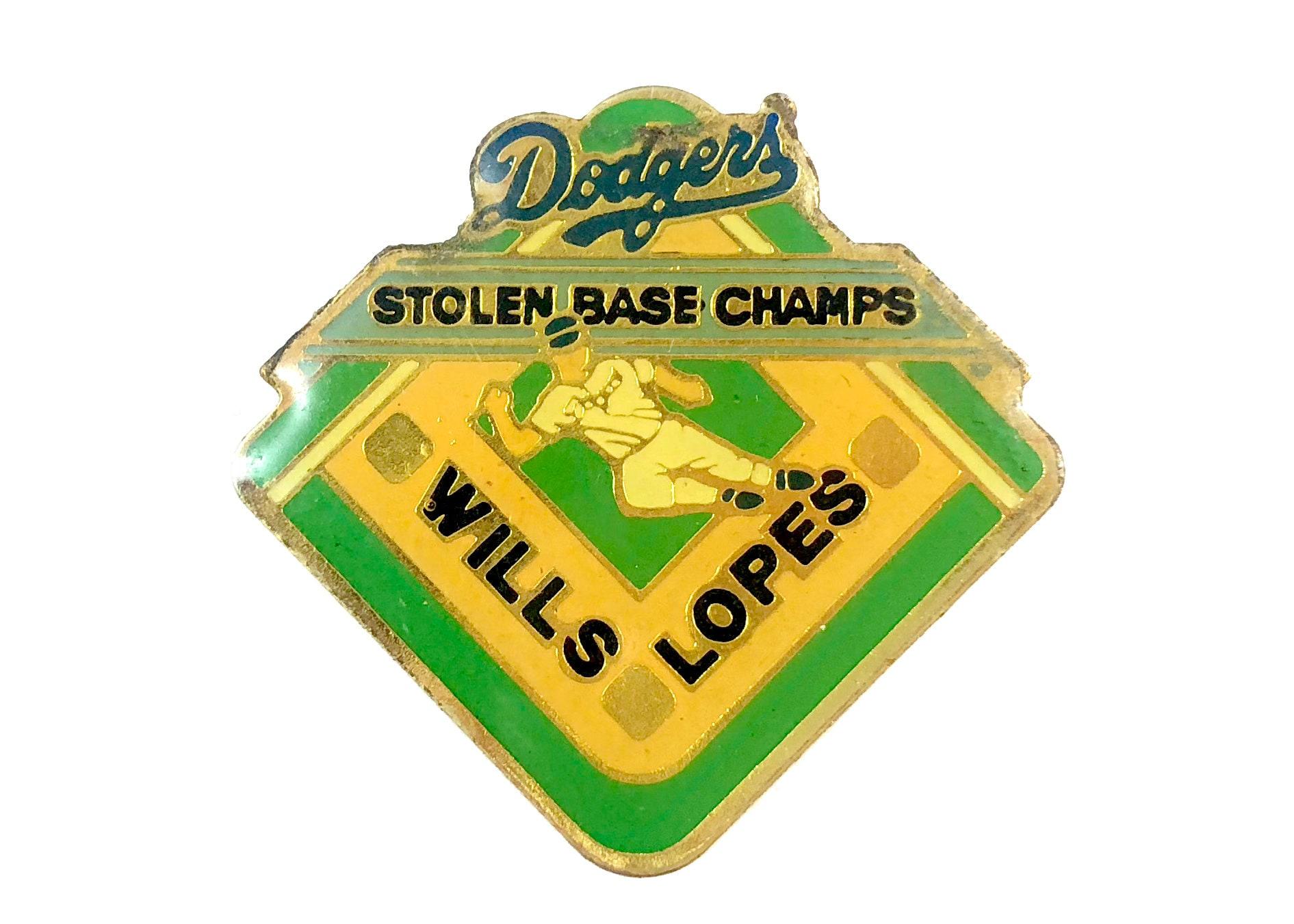 69c32b7b8 LA Dodgers Vintage Enamel Lapel Pin Stolen Base Champs Wills