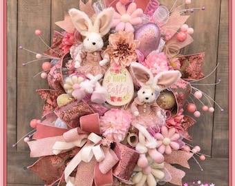 Easter Wreath, Easter Bunny Wreath, Bunny Wreath, Easter Bunny Wreath, Victorian Easter, Spring Wreath, Easter Decor