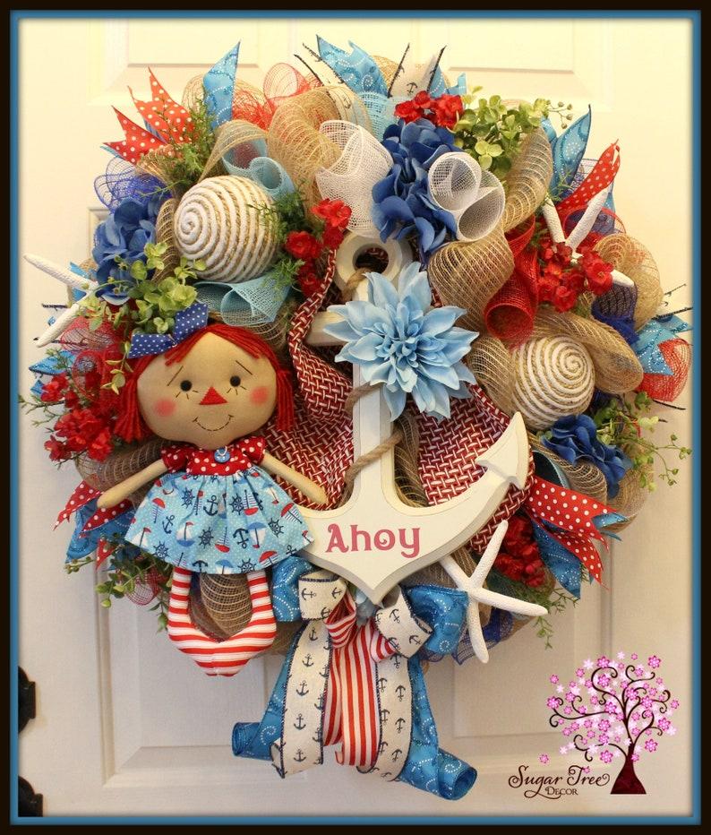 Nautical Wreath Beach Wreath Nautical Decor Wreath Summer image 0
